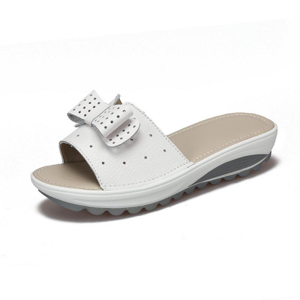 BFMEI Casual Damen Sandalen Wedges Flower Sandalen \u0026 Hausschuhe Plattformen Muffins \u0026 Schuhe  41 EU|White