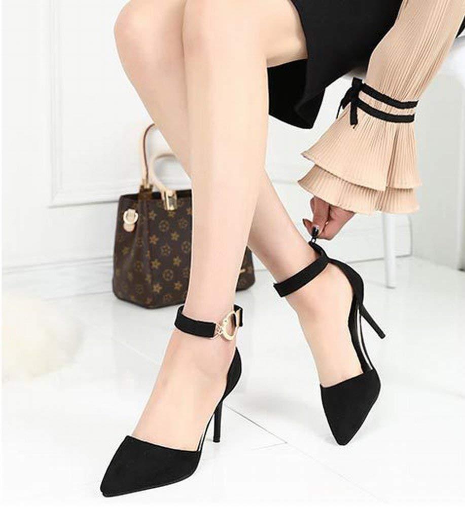 Oudan Mode Stilettos Knöchelriemen Schnalle Alle Spiel Schuhe mit Hohen Absätzen Komfort Tipps Schuhe (Farbe   Schwarz Größe   38)