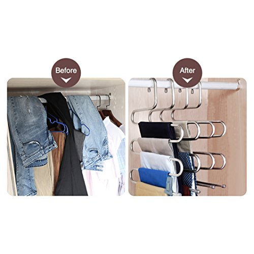 HonTop 5 Pack S-Type Multi-Purpose Pants Hangers Rack Stainless Steel Magic for Hanging Trousers Jeans Scarf Tie Clothes,Space Saving Storage Rack 5 Layers (5PCS) - bedroomdesign.us