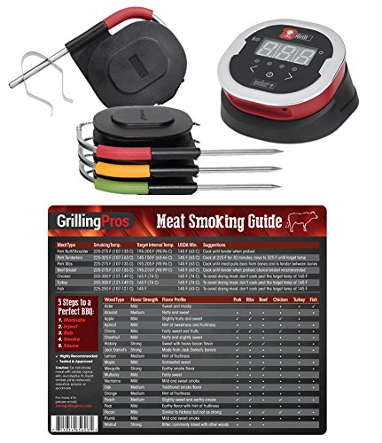 (GrillingPros Weber iGrill2 Complete Master Kit with 3 Pro Meat Probes, 1 Ambient Pro Probe Meat Smoking Guide Magnet)