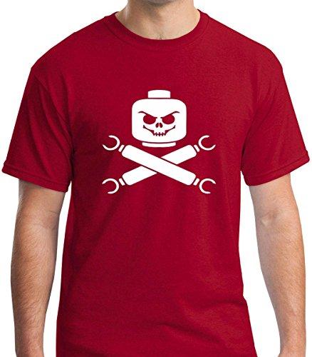 Pure Soul Lego Skull and Cross Bones - Lego Pirate Parody Premium Men's T-Shirt (Small, (Skull Bones Pirate)