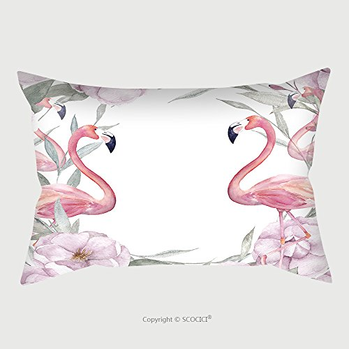 Custom Satin Pillowcase Protector Watercolor Floral Template With Rose Leaves Eucalyptus Flamingo For Greeting Cards Wedding 510427099 Pillow Case Covers Decorative by chaoran (Image #1)