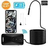 Wireless Endoscope, ABOX WiFi Borescope Inspection Camera, 2.0 Megapixels 1200P HD Semi-Rigid Waterproof Snake Camera, 1000mAh Battery, 8 LEDs, for for Android & iOS Smartphone Tablet-16.4FT