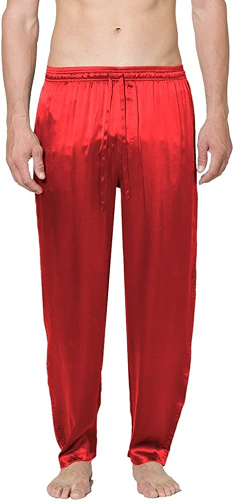 Intimo Men's Classic Silk Pant, Red, Large