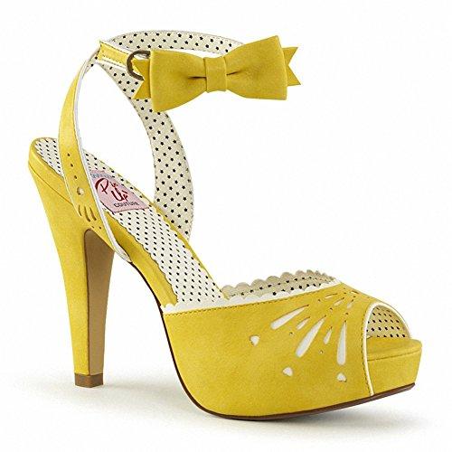Pin Up Couture Bettie-01 Donna 4 1/2 Tacco, 1 Pedana Semi Nascosta Peep Toe Cinturino Alla Caviglia Sandalo Giallo Ecopelle