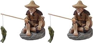 2Pcs Mini Fisherman Figurine, Miniature Resin Fisherman Bonsai Figurine, Fairy Garden Figurine for Garden Decor Micro Landscape Fish Tank Sand Fairy