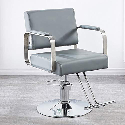 (MIMI KING Armchair Professional Barber Chair Barber Armchair, Hydraulic, Retractable, Height-Adjustable, PU Leather,LightBlueA)