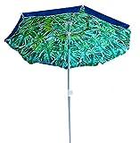 AMMSUN 6.5 ft Outdoor Patio Beach Umbrella with Push Button Tilt Air Vent and Fiberglass Rib Carry Bag (Blue&Green) For Sale
