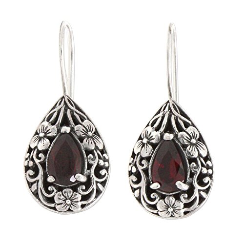 NOVICA Garnet .925 Sterling Silver Teardrop Dangle Hook Earrings, Lovely Daisies'