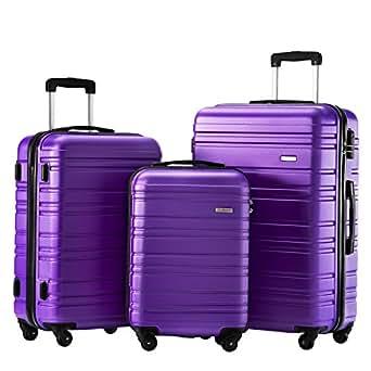 Luggage Set 3 Piece Set Suitcase set Spinner Hard shell Lightweight (purple)