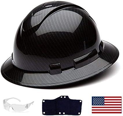 Pyramex Full Brim Hard Hat with Standard Ratchet Suspension Color Shiny  Black