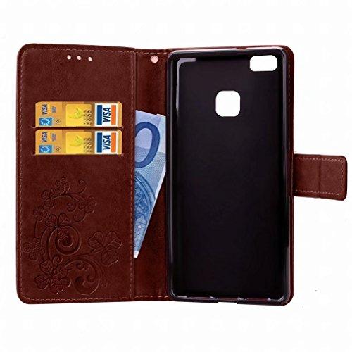 Yiizy Huawei P9 Lite / G9 Lite / Honor 8 Smart Custodia Cover, Tre Foglia Erba Design Sottile Flip Portafoglio PU Pelle Cuoio Copertura Shell Case Slot Schede Cavalletto Stile Libro Bumper Protettivo