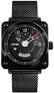 Men's Luxury Analog Quartz Calendar Waterproof Wrist Watches Mesh Band IP Black Plating Steel Watch (Black)