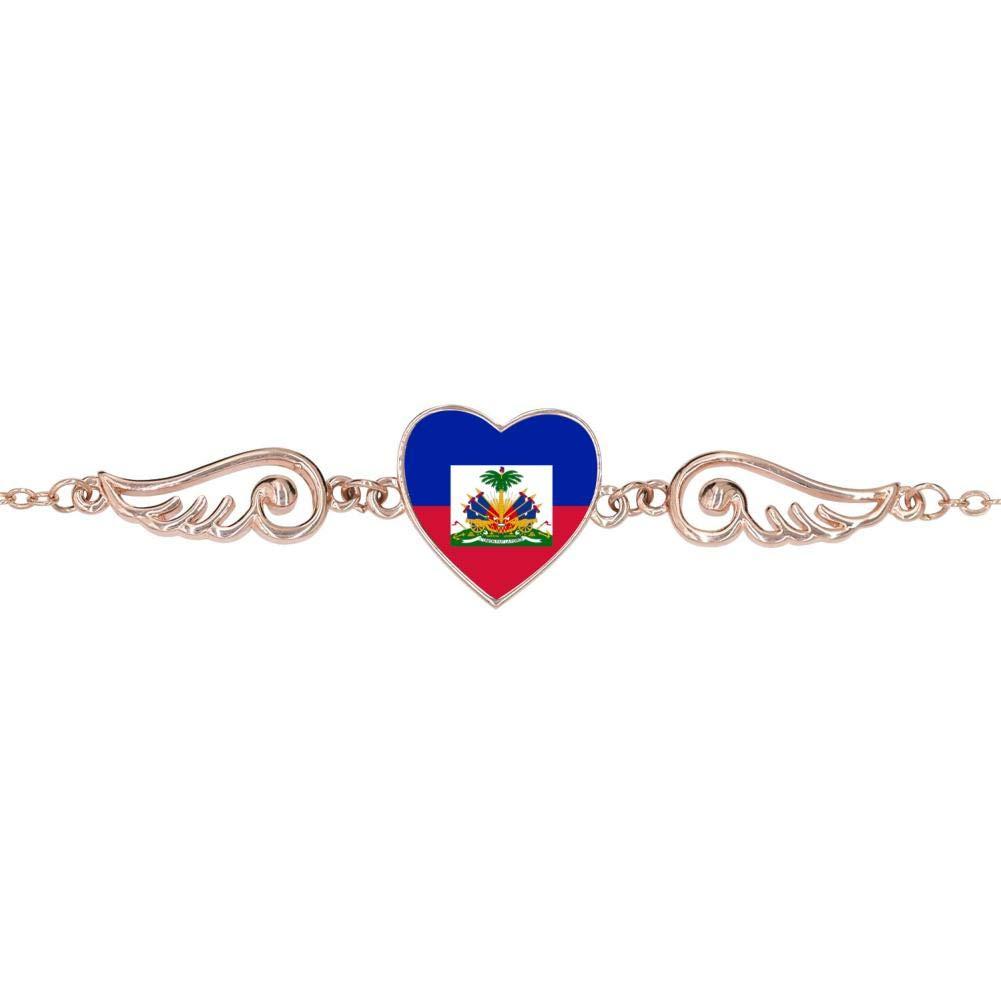 BlingDi Unique Haitian Flag Design Heart Lucky Bracelet Jewelry