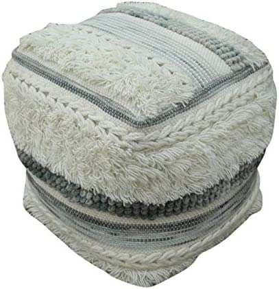 Christopher Knight Home Curry Boho Wool Pouf, Ivory and Gray