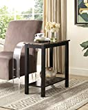 Roundhill Furniture Lediyana Faux Marble Top Side Table in Espresso Finish For Sale