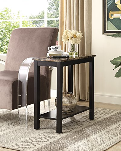 Roundhill Furniture Lediyana Faux Marble Top Side Table in Espresso Finish Faux Finish Furniture