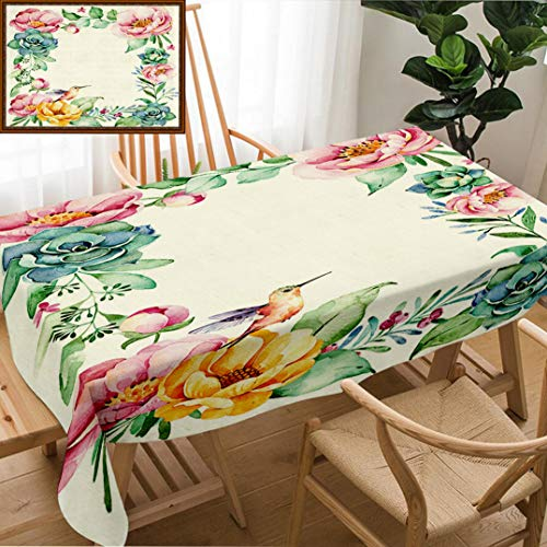 Unique Custom Design Cotton and Linen Blend Tablecloth Beautiful Watercolor Frame Border with Place for Text with Roses Flower Foliage Succulent PlantTablecovers for Rectangle Tables, 70