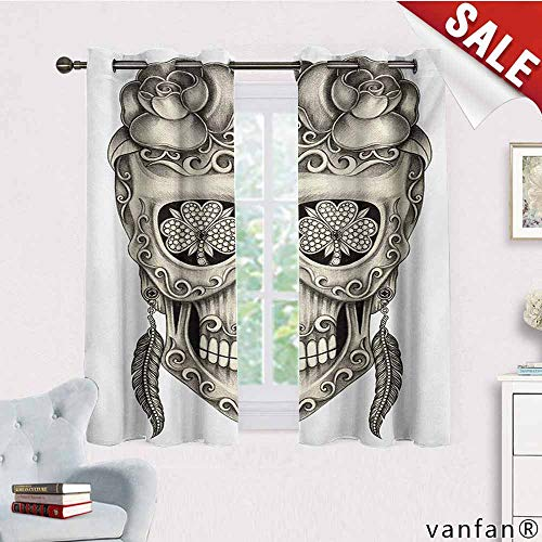 Big datastore 2 Grommet Curtain Panels,Day of The Dead,Spanish Sugar Skull with Roses Dragonfly Eyes Feather and Earrings Artwork,for Living/Bedroom Room/Patio Door,Grey Ivory,W55 Xl72