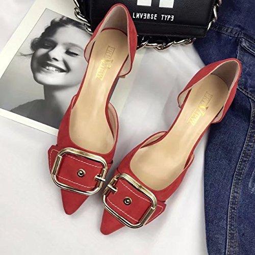 GAOLIM Punta Muelle Irregular Con Hebilla Hembra Solo Zapatos Ligeros, Cómodos Con Los Zapatos. Un rojo