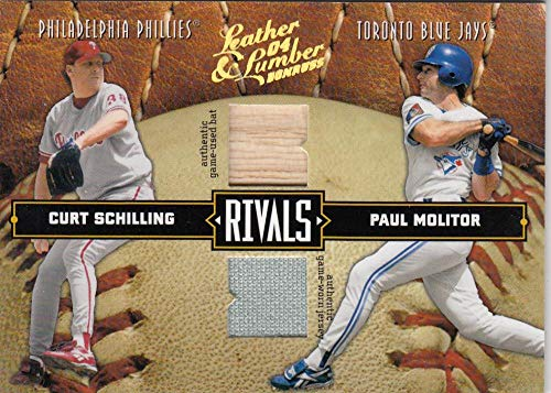 2004 Leather and Lumber Rivals Materials #38 Paul Molitor/Curt Schilling Jersey Bat NM-MT+ MEM 103/250 Toronto Blue Jays from Leather and Lumber
