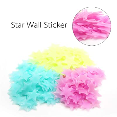 Tanke Luminous Glow in The Dark Stars Sticker 3D Fluorescent Reusable Ceiling Décor of 50Pcs Stars and 1Bonus Moon for Baby Nursery and Kid's Bedroom (Multicolor): Baby