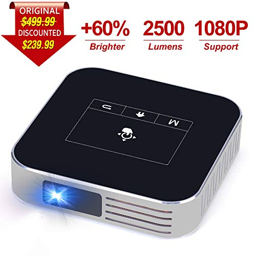 Projector Portable DLP 2500 Lumens 1080P Supported Video Projector 200″ Home Theater Outdoors Gaming Mini Projectors Bluetooth WiFi HDMI USB SD Built-in Stereo Speakers Screen Share (s, Black)