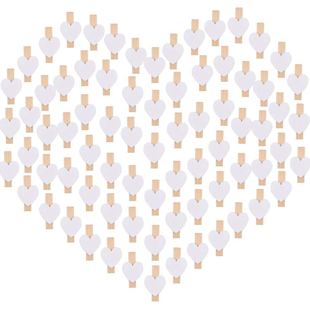 VGOODALL 100 STK Mini Holzklammern Herz, 3.5CM Herz Zierklammern Holz Mini Foto Handwerk Clips für die Hochzeit Party Fotohalterkarte Dekoration und Basteln