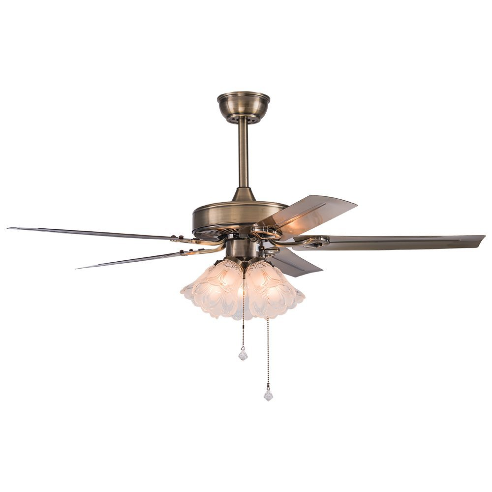 Akronfire Iron Ceiling Fan for Decorate American Modern Indoor Room /Living Room Remote Control Mute Electric Fan Chandelier of 52 Inch