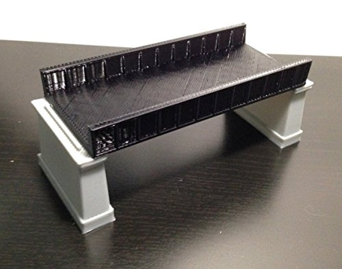 Outland Models Railroad Girder Bridge Black(for Double Track) with Piers Z Scale