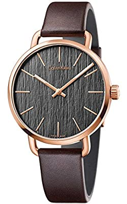 Calvin Klein K7B216G3 Mens Even Brown Leather Strap Watch