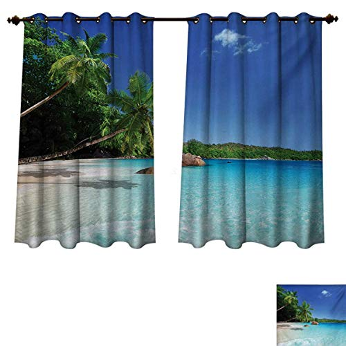 (RuppertTextile Ocean Blackout Thermal Curtain Panel Sunny Horizon Skyline Transparent Water Isolated Beach at Prislin Island Patterned Drape for Glass Door Turquoise Green Blue W72 x L72)