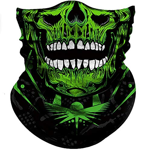 (Obacle Skull Face Mask Half Sun Dust Wind Protection, 3D Tube Mask Seamless Durable Face Mask Bandana Skeleton Face Mask Motorcycle Bike Riding Fishing Hunting Cycling Festival)