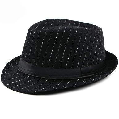 ae6056692 Fashion Men Fedora Hat British Style Striped Trilby Hat Classic ...