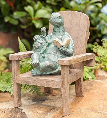 Plow & Hearth Reading Turtle Outdoor Garden Statue, 6.75 L x 5.75 W x 7.5 H (Turtle Garden Sculpture)