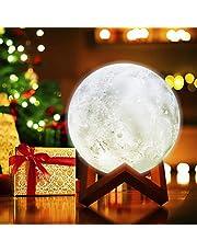 The perseids Lámpara de luna llena 3D LED Lámpara de pie moderna de la noche Regulable de control táctil Brillo USB Interruptor táctil recargable Blanco/Caliente/Luz de la mezcla Luna Lámpara 15cm