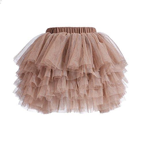 Tutu Skirt for Baby Girl Toddler 6 Layered Tulle Skirts 1-8T Light Tan