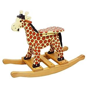 Teamson Kids - Safari Kids Wooden Rocking Horse for Toddlers - Giraffe