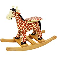 Teamson Kids - Safari Kids Wooden Rocking Horse for Toddlers - Giraffe