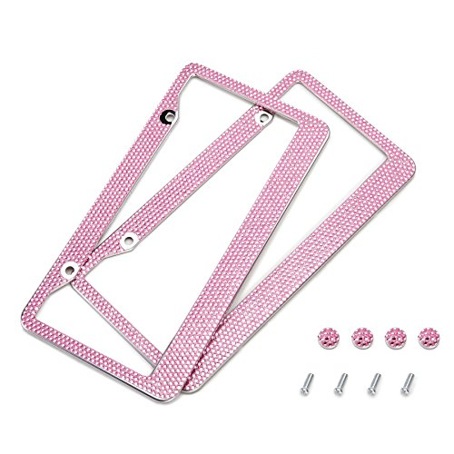 OrionMotorTech 2 Pink Bling Crystal Rhinestone License Plate Frames and Screw Caps (Frame Plate Pink License)