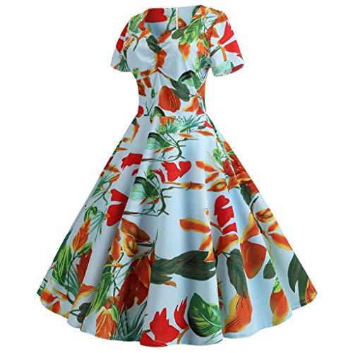 Dress 2019 Festa Vestito Cerniera Swing Donna Sera Blu 1 collo Floreale Moda VestitoV Prom Stampare ARq54c3jL