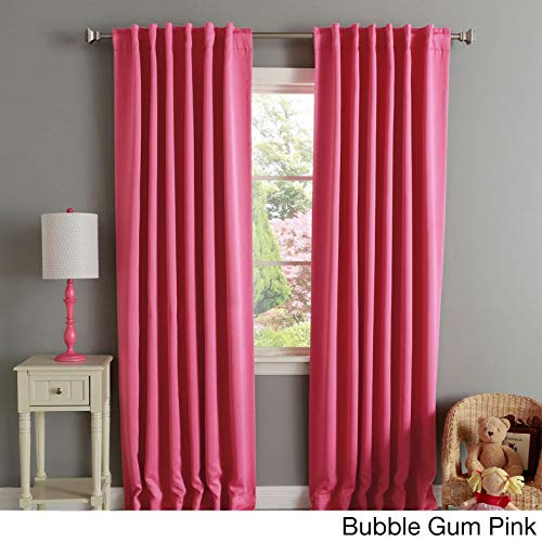 - Two Piece Bubble Gum Pink 84 Inch Home Decor Curtain Panel Pair, Thermal Insulated Blackout Grommet, Modern Contemporary Style, Energy Efficient, Solid Pattern, Polyester Material, Rose, Hot Pink