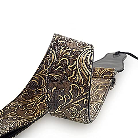 Guitar Strap, Vintage PU Guitar Strap,Wide Adjustment Range and Secure Leather Holes-Suitable for All (Chitarre e Bassi Chitarre)
