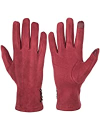 Women's Touch Screen Gloves Texting Suede Leather Warm...