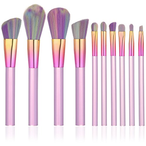 Acryl Crystal - iTME [Upgrade Version] Premium Makeup Brush Set Synthetic Cosmetics Professional Crystal Acryl Handle Brush, Kabuki Foundation Blending Brush Midsummer Night Dream Makeup Brush Kit (10pcs, Pink)
