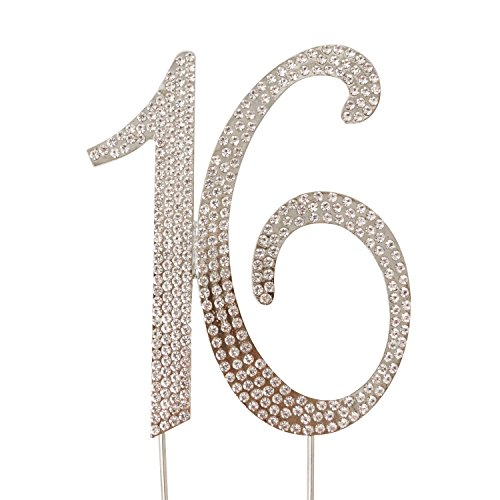 Honbay 16 Cake Topper Premium Sparkly Crystal Rhinestones Cake Topper Cake Decoration for Sweet 16th Birthday Party (16 Silver)