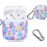 Alltravel Protective Silicon Case for Airpod Case, Featured with Flowers Image for Youth, Easy to Carry Carabiner, Compact, Lightweight and Excellent Protection