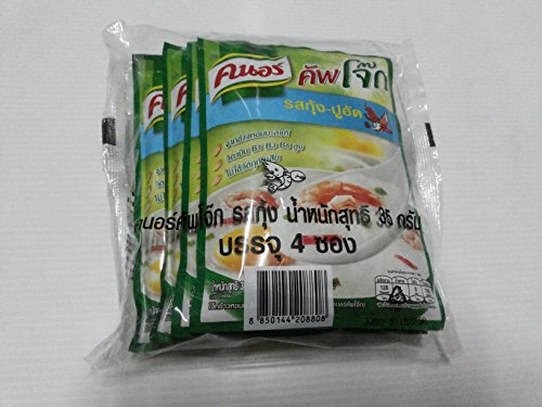 KNORR CUP JOK INSTANT JASMINE RICE PORRIDGE SHRIMP AND CRAB STICK FLAVOUR NET WEIGHT 35G. [PACK OF 4 SACHETS]
