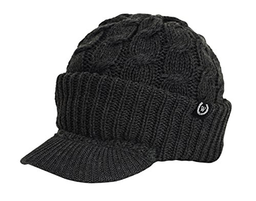 Newsboy Cable Knitted Hat with Visor Bill Winter Warm Hat for Women in Black, Charcoal, Dark Brown, Hot Pink, Red, White (Charcoal)