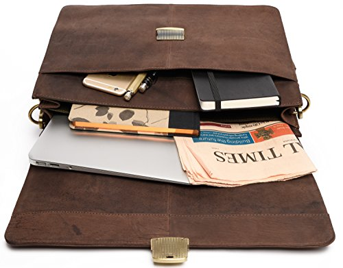 LEABAGS Miramar Briefcase of Genuine Buffalo Leather in Vintage Look - Muskat by LEABAGS (Image #4)
